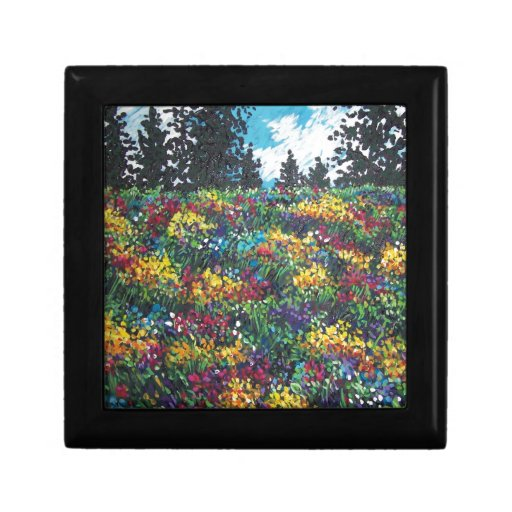 colorful wildflower field jewelry box
