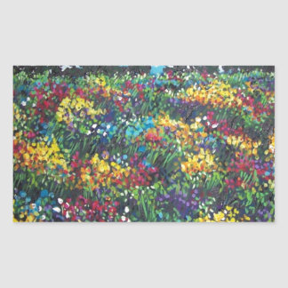 colorful wildflower field rectangular stickers