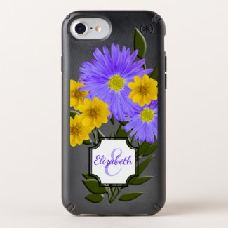 Colorful Wildflowers | Initial Letter Monogram Speck iPhone Case