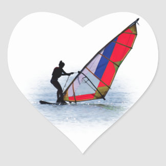 Colorful windsurfing girl heart sticker