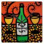 Colorful Wine Art Chardonnay Square Wall Clock