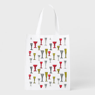 Colorful Wine Glasses Pattern Grocery Bag