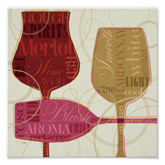 Colorful Wine Glasses Poster