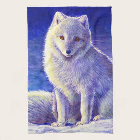 Colorful Winter Arctic Fox Kitchen Towels