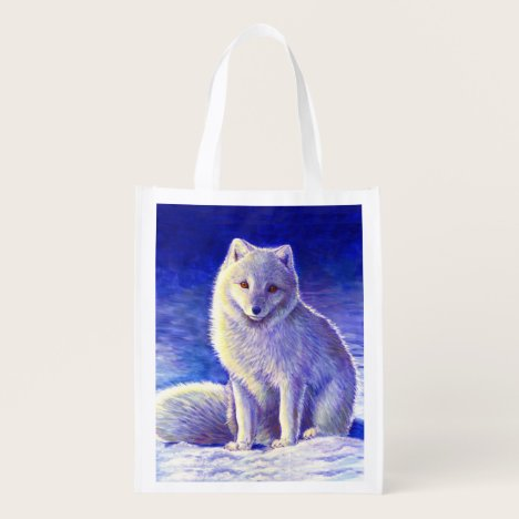 Colorful Winter Arctic Fox Reusable Grocery Bag