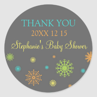 Colorful Winter Baby Shower Favor Stickers