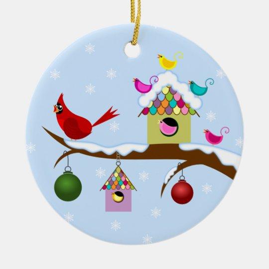 Colorful Winter Birds Round Ornament