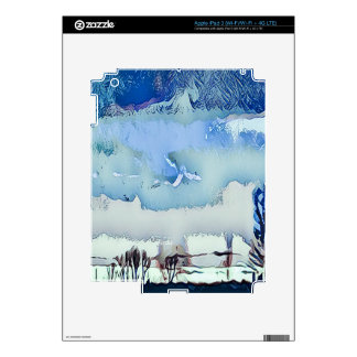 Colorful Winter Blue Abstract Horizon Sky Decals For iPad 3