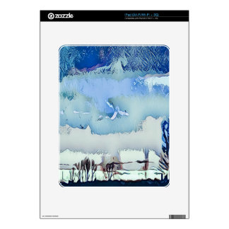 Colorful Winter Blue Abstract Horizon Sky Decals For The iPad