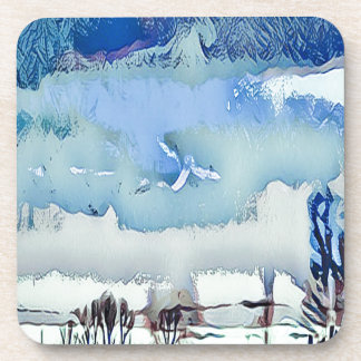 Colorful Winter Blue Abstract Horizon Sky Drink Coaster