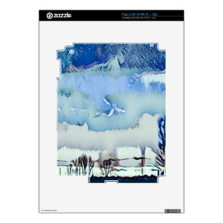 Colorful Winter Blue Abstract Horizon Sky Skins For iPad 2
