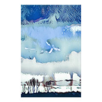 Colorful Winter Blue Abstract Horizon Sky Stationery