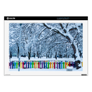 Colorful Winter Fence Laptop Decals
