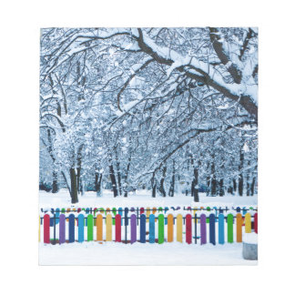 Colorful Winter Fence Notepad