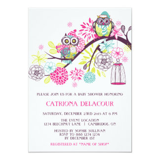 Colorful Winter Owls Floral Baby Shower Invitation