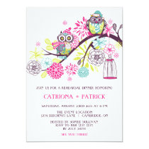 Colorful Winter Owls Rehearsal Dinner Invitation