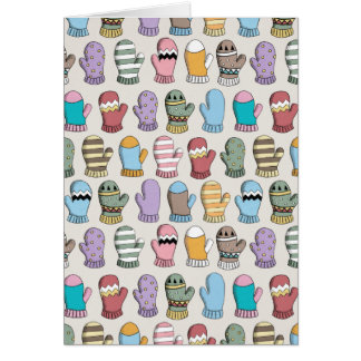 Colorful Winter Woollen Mittens Pattern Card