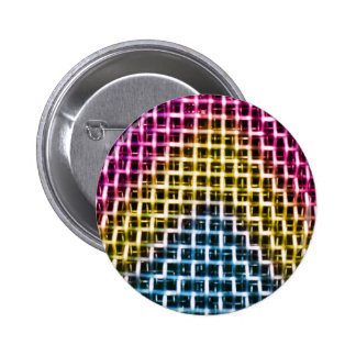 Colorful Wire Grid Cage Pinback Buttons