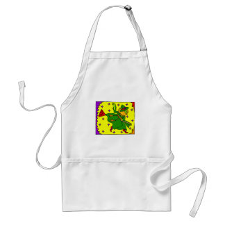 Colorful witch on broom apron