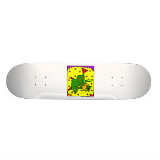 Colorful witch on broom skateboard deck