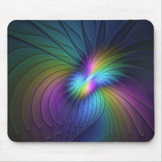 Colorful With Blue Modern Abstract Fractal Art Mouse Pad