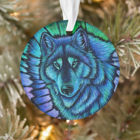 Colorful Wolf Aurora Acrylic Ornament