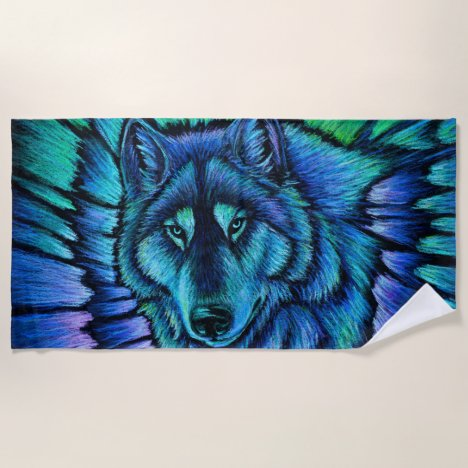 Colorful Wolf Aurora Blue Beach Towel