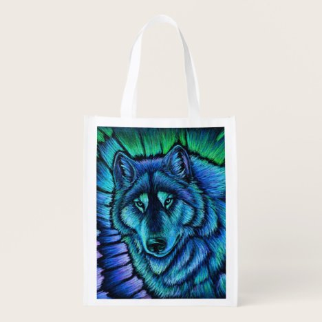 Colorful Wolf Aurora Borealis Reusable Grocery Bag