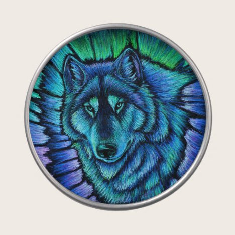 Colorful  Wolf Aurora Candy Tin