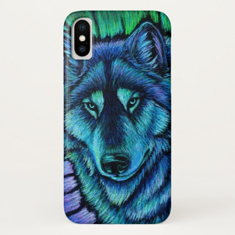 Colorful Wolf Aurora CaseMate Cell Phone Case