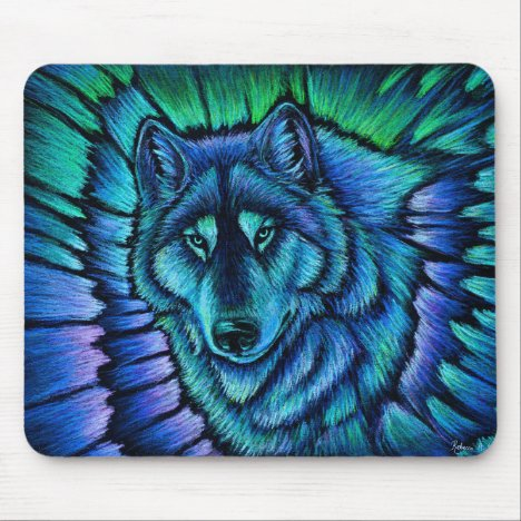 Colorful Wolf Aurora Fantasy Mouse pad