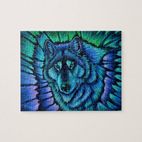 Colorful Wolf Aurora Fantasy Puzzle