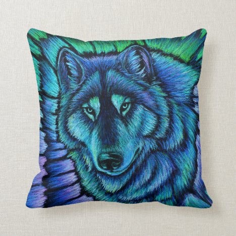 Colorful Wolf Aurora Fantasy Spirit Throw Pillow