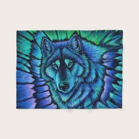 Colorful Wolf Aurora Fleece Blanket