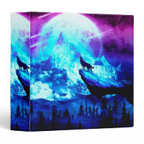Colorful wolf howling 3 ring binder