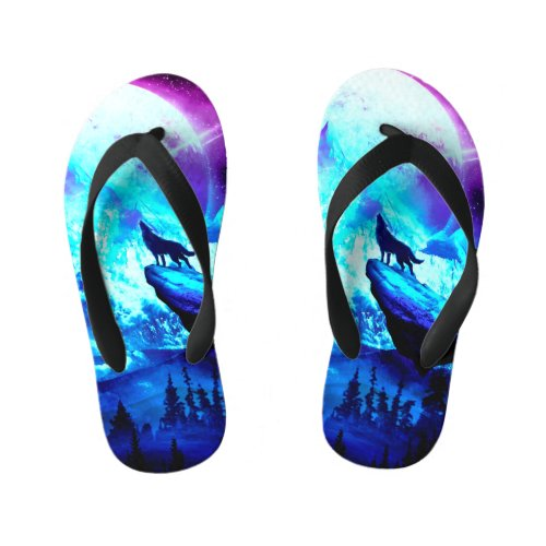Colorful wolf howling kid's flip flops