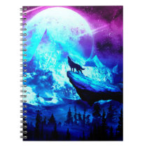Colorful wolf howling notebook