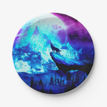 Colorful wolf howling paper plate
