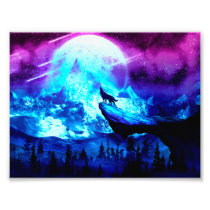 Colorful wolf howling photo print
