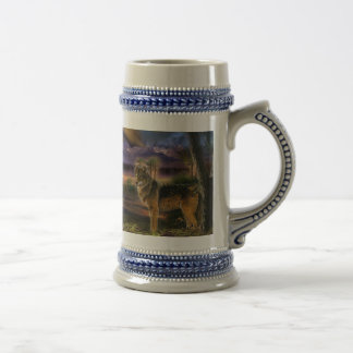 Colorful wolf in the forest beer stein