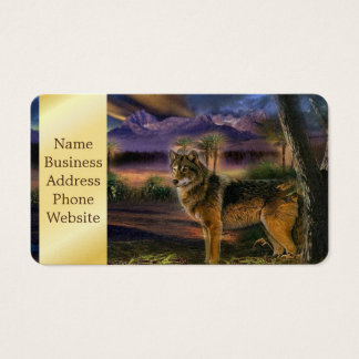 Colorful wolf in the forest business card