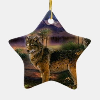 Colorful wolf in the forest ceramic ornament