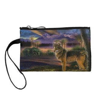 Colorful wolf in the forest coin purse