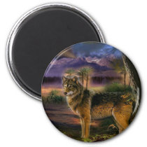 Colorful wolf in the forest magnet