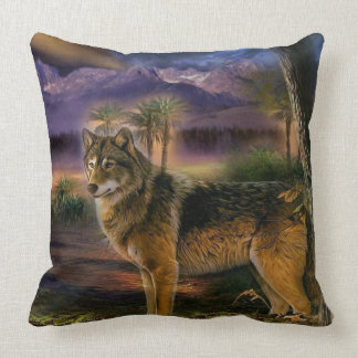 Colorful wolf in the forest throw pillow