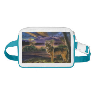 Colorful wolf in the forest waist bag