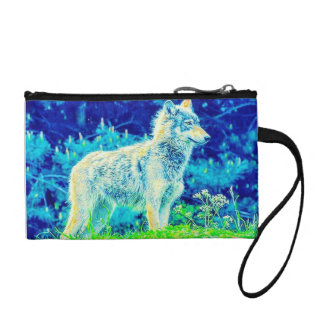 Colorful Wolf On The Prowl Key Coin Clutch