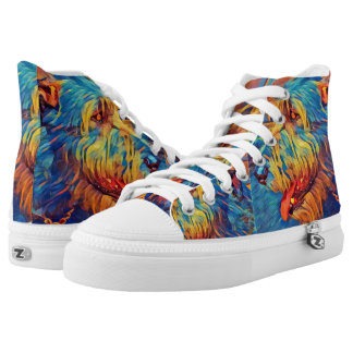 Colorful Wolfhound Profile  Hi-Top tennis shoes
