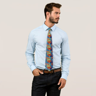 Colorful Wolfhound Profile Mens Tie - Large image