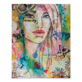Colorful Woman Butterflies Mixed Media Art Collage Poster